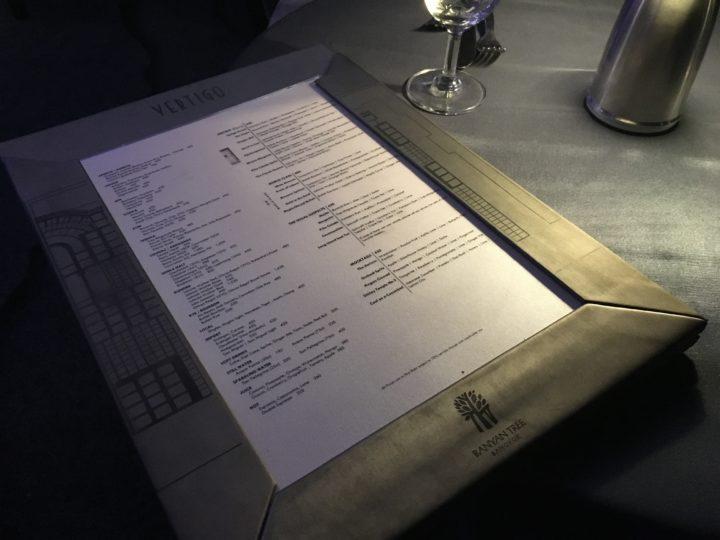 ルーフトップレストラン「Vertigo」のメニュー