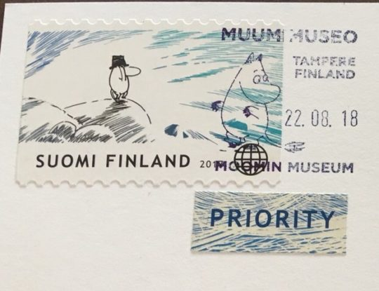 ムーミン美術館から出したムーミン切手