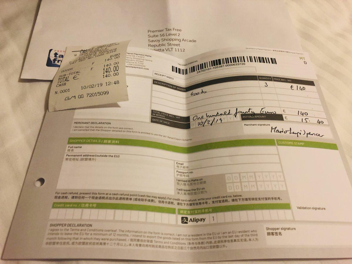 マルタ国際空港でVAT還元申請した資料