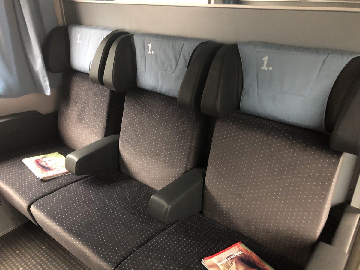 ハイデルベルクへ向かう列車(一等車)のコンパートメント