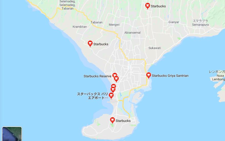 バリ島のスタバ地図
