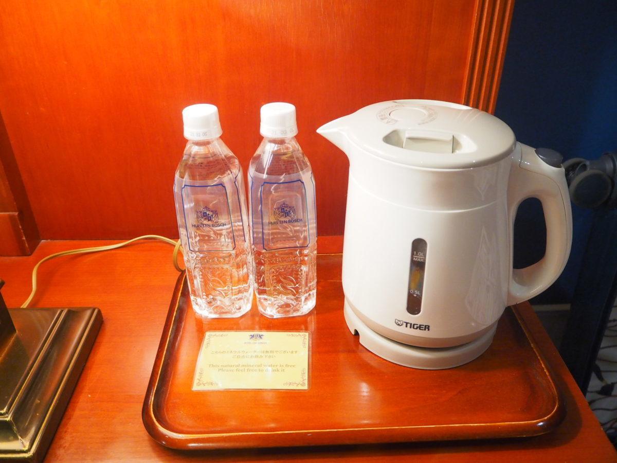 ホテルアムステルダムのスーペリアルームのお水